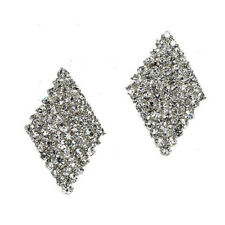 Clear silver tone sparkly clip on earrings diamante rhinestone bridal prom 500-S