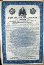 """Brown Coal Industrial Corp. """"Zukunft"""" German $1000 Gold bond of 1928"""