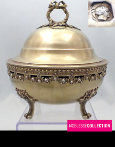 ANTIQUE 1890s FRENCH STERLING SILVER VERMEIL GOLD SUGAR BOWL Louis XVI Acanthus