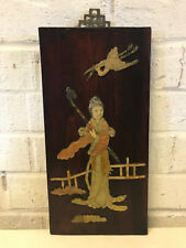 Antique Chinese Stone Carved Inlaid Wood Panel w Woman & Bird / Crane Decoration
