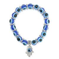 Hamsa Charm Blue Evil Eye Bead Protection Good Luck Bracelet Handmade Jewelry