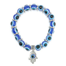 Hamsa Charm Blue Evil Eye Bead Protection Good Luck Bracelet Handmade Jewelry