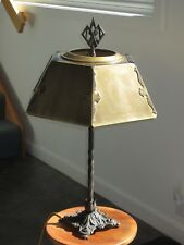 Antique Rustic Cast Iron Gothic Baroque Arts & Crafts Table Lamp - Brass Shade