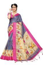 Women Printed Art Silk Khadi Saree - Festive Occasion Wear - Indian Traditional