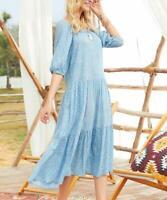 Suzanne Betro Dresses Floral Half Sleeve Square Neck Midi Dress (Blue, 1X)