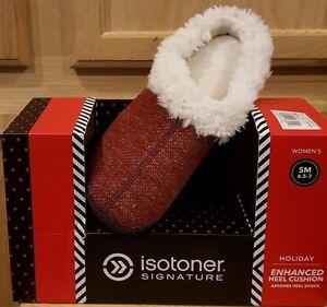 isotoner Signature Chilli Pepper French Terry Soft Sherpa Hoodback Slippers, SM