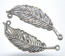2 x STATEMENT PENDANT ~ Large Antiqued Silver Textured FEATHER Connector  ~ 63mm