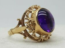 1970'S GENUINE RETRO VINTAGE 9CT YELLOW GOLD LARGE AMETHYST CABOCHON RING