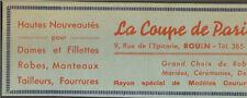 76 ROUEN PUBLICITE MAGASIN NOUVEAUTES LA COUPE DE PARIS 1937 ADVERTISING
