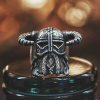 Vikings Horns Helmet Warrior Men Rings 316L Stainless Steel Ring Biker Jewelry