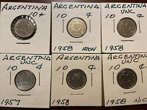 6 coins - Argentina 10 Centavos - Excellent Condition - UNC likely - 1957 - 1959