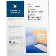 """Business Source Mailing Labels Shipping Laser 2""""x4"""" 2500/PK White 26117"""