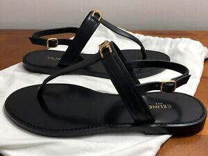 Celine Triomphe Thong Calfskin Black Sandals size 37 7 NEW black w dustbag