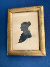 Antique Framed Silhouette of a Woman with Gold Painted Highlights Folk Art