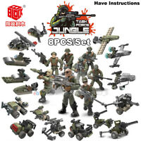 Fit Mega Minifigures Military Soldiers Army Weapon Machine Gun Blocks 8PCS