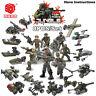 Fit Lego Mega Minifigures Military Soldiers Army Weapon Machine Gun Blocks 8PCS