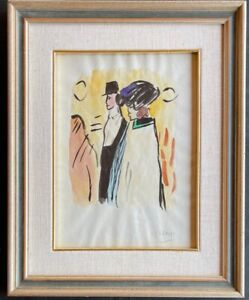 Original vintage rare ink watercolr on paper!Pablo Picasso - hand signed-framed!