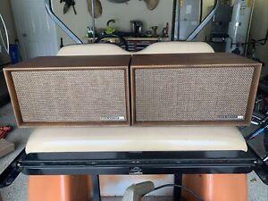 Pair of 1960's MCM Retro Vintage RCA Victor Speakers. Original solid wood