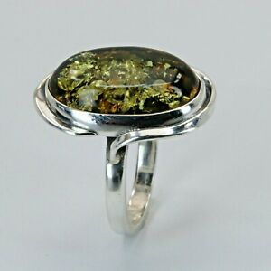Size 7 Green BALTIC AMBER Ring, 925 STERLING SILVER Poland #0694