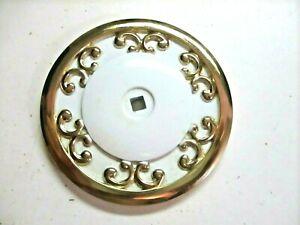 """JB JayBee USA 1940 Hollywood Regency 2-1/2"""" Backplate Medallion White On Brass"""