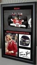 """James Hunt F1 McLaren Framed Canvas Signed Print """"Great Gift"""""""