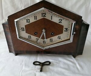 H.A.C. Art Deco Striking Mantle Clock with pendulum & key