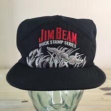 JIM BEAM DUCK STAMP SERIES - Vtg 80s Black & Silver 6 Panel SnapBack Hat Cap