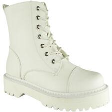 Womens Low Heel Lace Up Ankle Boots Combat Military Biker Ladies Platform Shoes