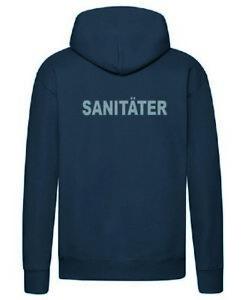 Sanitäter Hoodie Kapuzen Pullover navy mit Brust- u. Rückenaufdruck