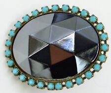 Nikolas Frangos Ring Swarovski Crystals Gray Hematite Turquoise Blue One Size