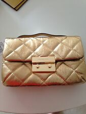 Michael Kors Sloan Quilted Crossbody  Gold Handbag w/chain