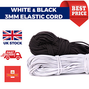 3mm Elastic Cord SOFT Round Strap Sewing Craft For Face Mask Black or White
