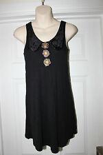 Ladies Black River Island Long Top/ Dress Size 10 Button Detail