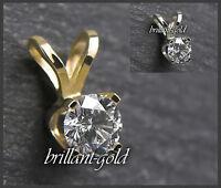 Brillant Anhänger Damen 585 Gold Diamant 0,10-0,25ct/ Top Wesselton/ VS-Si, NEU