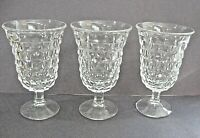 """3 VTG INDIANA WHITEHALL CUBIST CLEAR FOOTED ICED TEA GLASSES FLARED 5 1/2"""""""