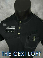 Mens VERTICAL Casual Polo T-Shirt Black Double Pocket Flap with Studs