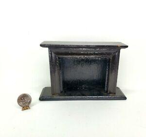 Vintage BLACK Wood Fireplace Dollhouse Miniature 1:12 Living Room Furniture