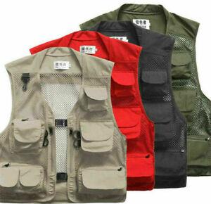 Multi Pocket Utility Vest Waistcoat Men Fishing Hunting Hiking Travelling Jacket