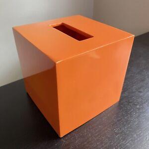 Jonathan Adler Home Bright Orange Tissue Box Cover Holder SIGNED Designer Decor