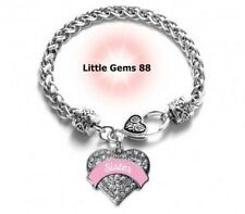 SILVER PINK SISTER PAVE HEART CHARM BRACELET 7.5 INCHES CLEAR ZIRCONIA STONES