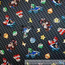 BonEful Fabric FQ Cotton Quilt Mario Brother Nintendo Game Super Hero Boy Check