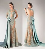 Lace Applique Formal Prom Evening Party Dresses Pageant Beauty Bridesmaid Gowns