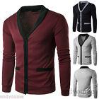 Fashion Mens Slim V-neck Knitwear Long Sleeve Cardigan Sweater Jacket Coat Tops