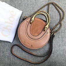 Chloe $990 AUTH Grained Leather Suede Mini Pixie Crossbody Bag Nougat Beige Tan
