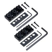 2 Black Metal Electric Guitar String Locking Nut Height Adjustable 6 String 42.5