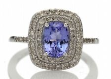 14ct Gold Oval Tanzanite And Diamond Cluster Ring 0.33 Size N 1/2  RRP £ 3105