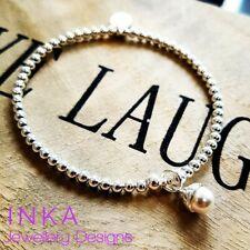 Inka Sterling Silver 925 Stretch 3mm beaded bracelet with Swarovski Pearl charm