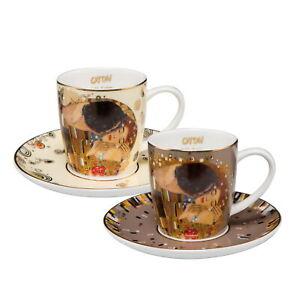 """ARTIS ORBIS Gustav Klimt """"Der Kuss Set Espressotassen"""" 67011551Goebel Porzellan"""