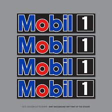 SKU2466 - 4 x Mobil 1 Stickers Oil Racing Car Bike Rally Nascar - 100mm x 25mm