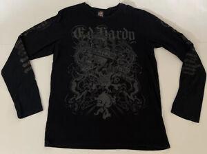 Ed Hardy Christian Audigier Black Gray Metallic Long Sleeve XXL Skull Bones